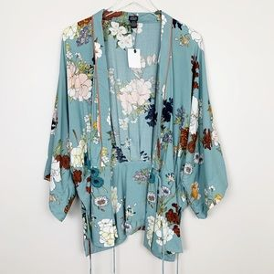 Roffe   Floral Boho Kimono Wrap Top One Size New
